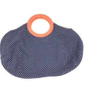 J. Crew Blue Polka Dot Handbag Purse Orange Handle